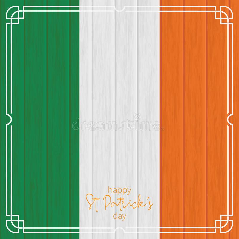 St patrick`s day background. irish flag, wooden background. celt royalty free stock photos