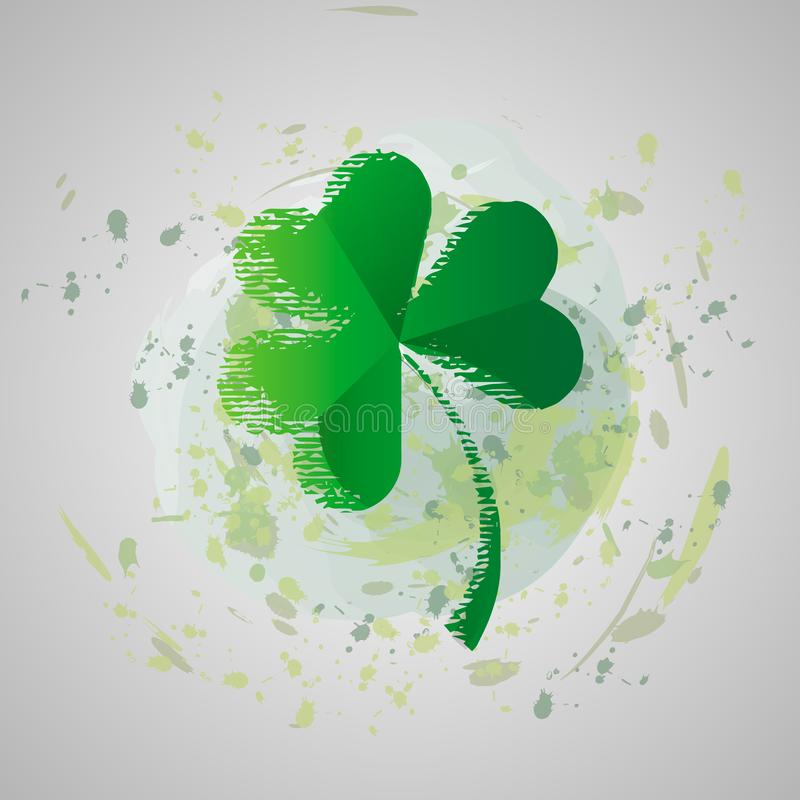 St. Patrick s day vector illustration. grunge Four leaf clover isolated on a background of paint stains royalty free illustration