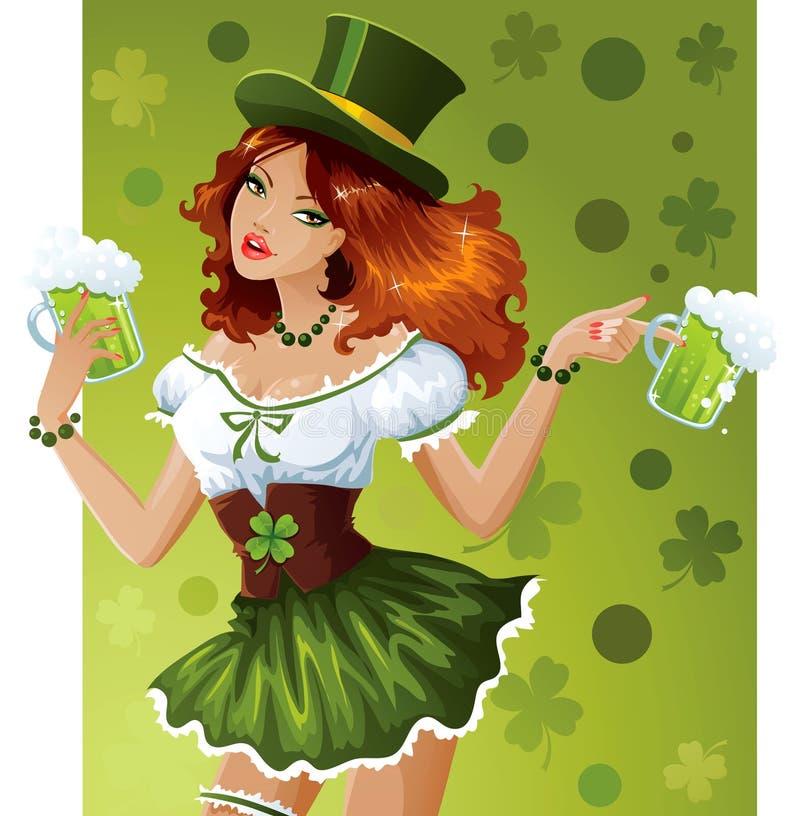 St. Patrick's Day waitress royalty free illustration