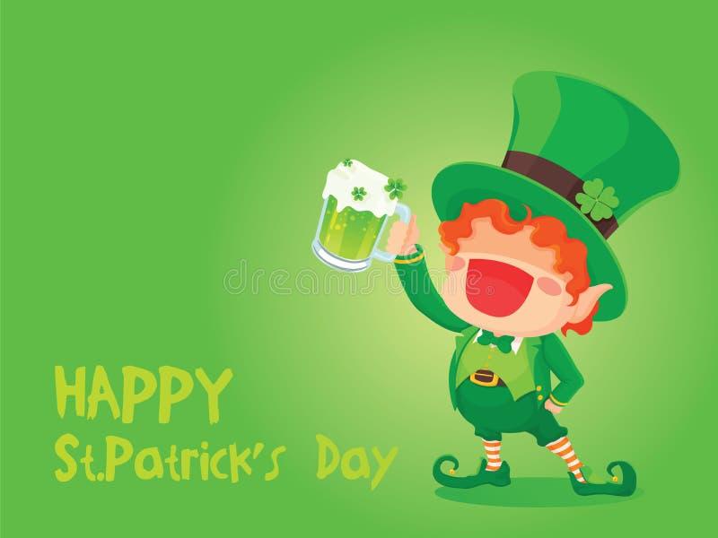 St Patrick ` s de Holdingsbier van de Dag Gelukkig Kabouter royalty-vrije illustratie