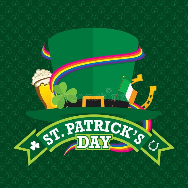 St Patrick ` s de kaart van de Daggroet met een groene hoed versierde met een klaver, een Ierse vlag, een hoef, een glas bier en  stock illustratie