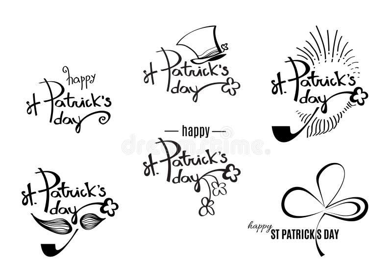 St Patrick ` s dnia czerni retro logowie z literowaniem wektor ilustracja wektor