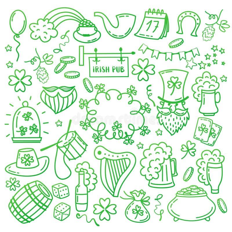 St Patrick s dnia ikony ustawiają odosobnionego na białym tle Ręka rysująca doodle stylu wektoru ilustracja ilustracja wektor
