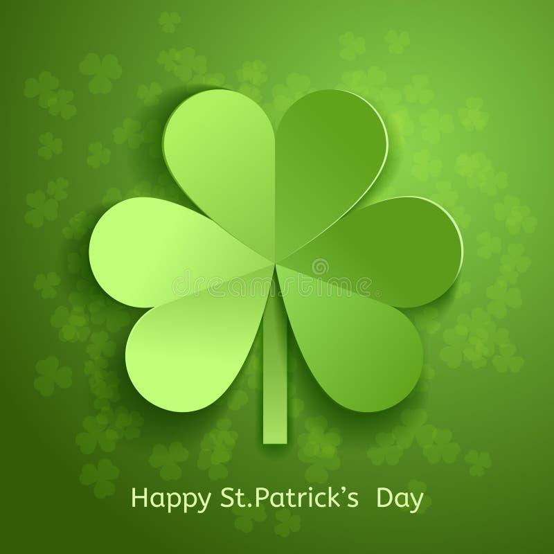 St Patrick ` s dnia karta z zielonego 3d liścia rozcięcia koniczynowym papierem również zwrócić corel ilustracji wektora ilustracji
