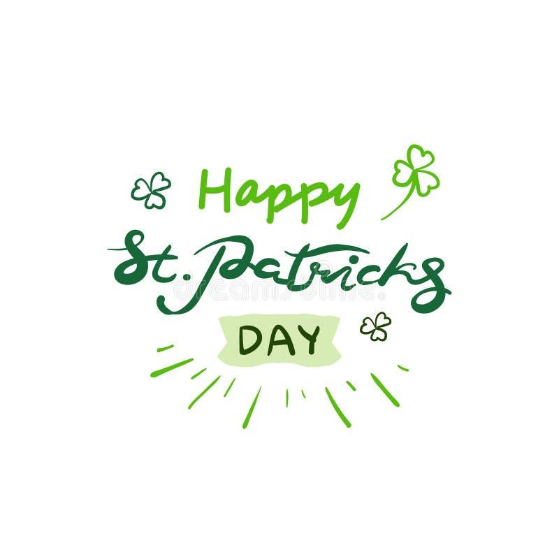 St Patrick s dnia literowanie, Zielony Wakacyjny plakat Odizolowywał znaka Na Białym tle ilustracja wektor