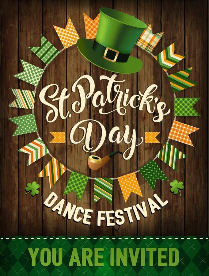 St Patrick ` s dnia rocznika odznaki wakacyjny projekt również zwrócić corel ilustracji wektora royalty ilustracja