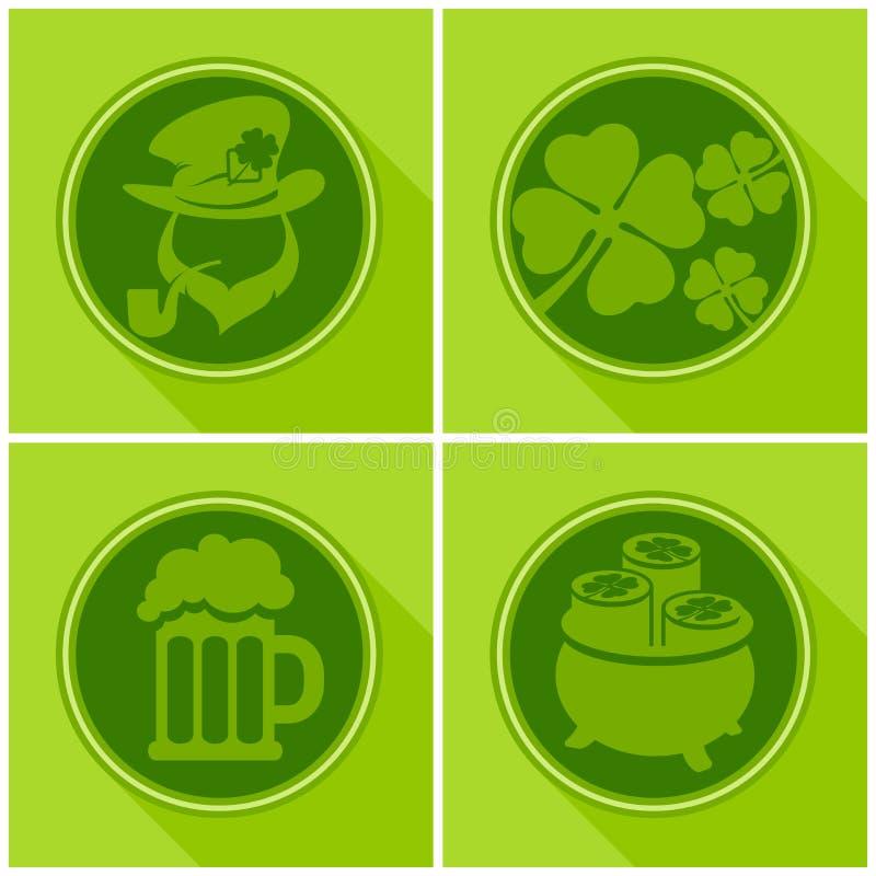 St Patrick S dnia symbole na zieleni ilustracji