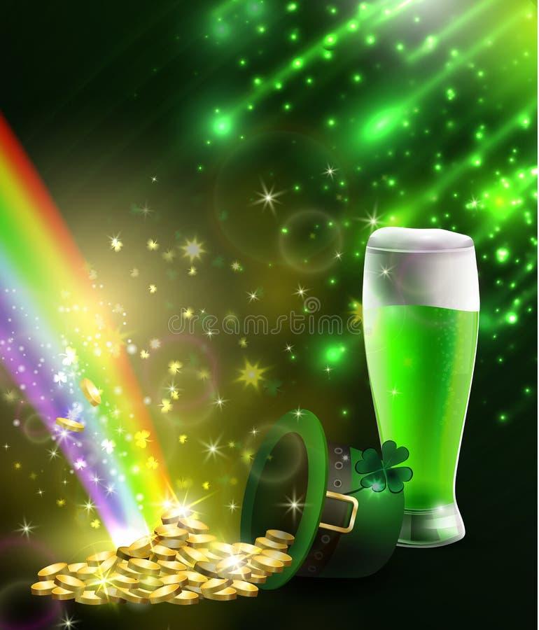 St Patrick s dnia symbolu zieleni złoto i kapelusz ilustracja wektor