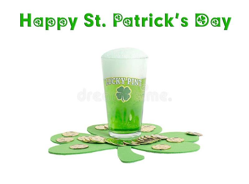 St Patrick ` s dnia Szczęsliwy Zielony Piwny pół kwarty zdjęcia stock