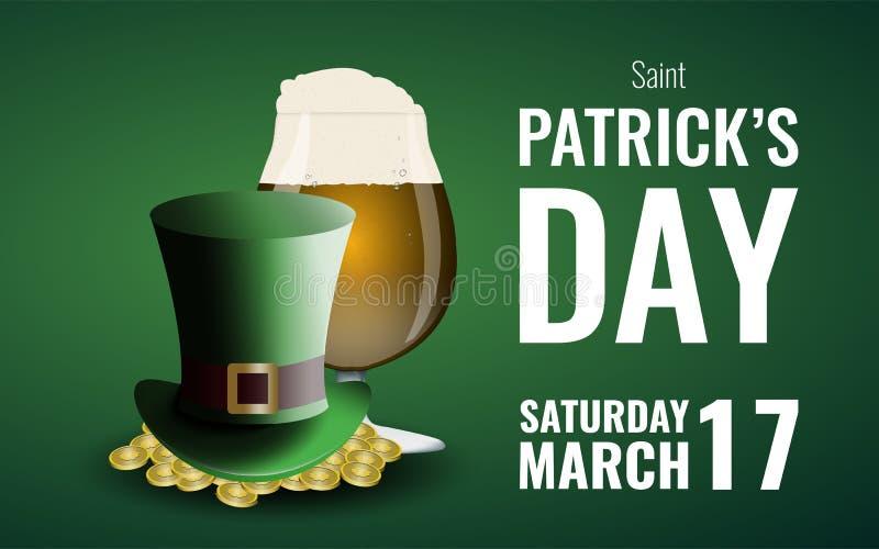 St Patrick ` s dnia tło z piwa i leprechaun ` s kapeluszem ilustracja wektor