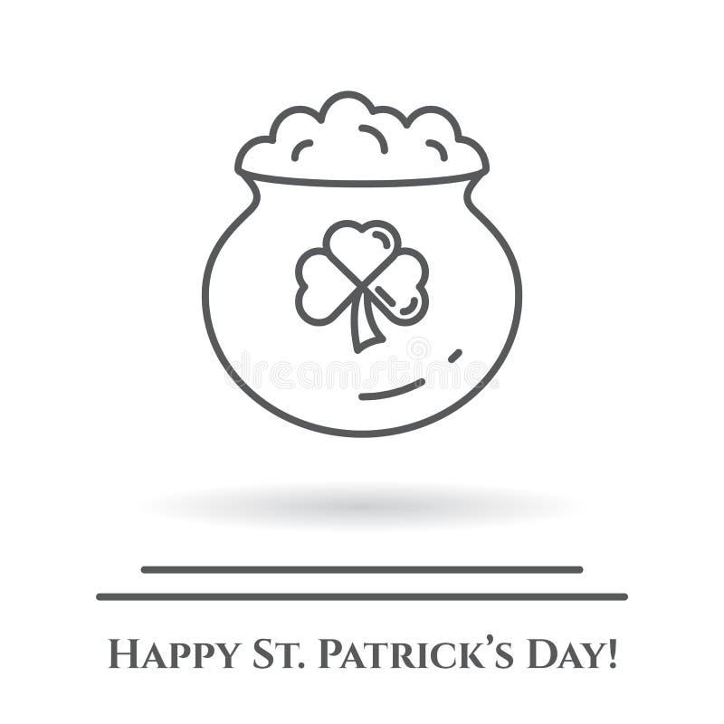 St Patrick ` s dnia tematu czarny i biały sztandar Kocioł z złota i shamrock liściem Irlandia wakacje powiązani piktogramy Kresko ilustracja wektor