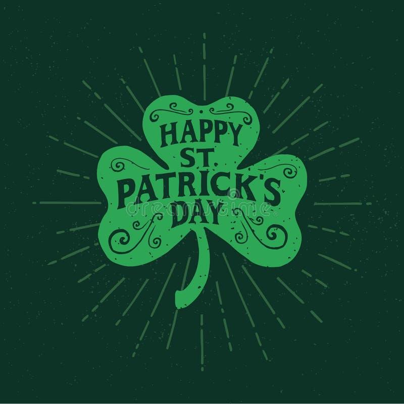 St Patrick ` s dzień Retro Stylowa emblemata liścia koniczyna typografia ilustracji