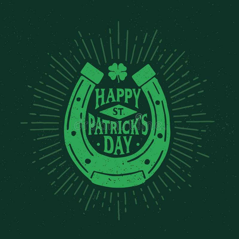 St Patrick ` s dzień Retro stylowy emblemat podkowa typografia royalty ilustracja