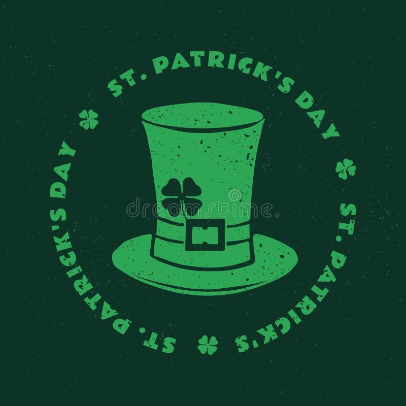 St Patrick ` s dzień Retro Stylowy emblemata kapeluszu Leprechaun typografia ilustracji