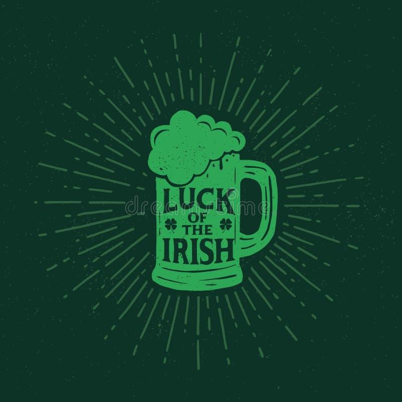 St Patrick ` s dzień Retro stylowy emblemata pół kwarty piwo typografia ilustracja wektor