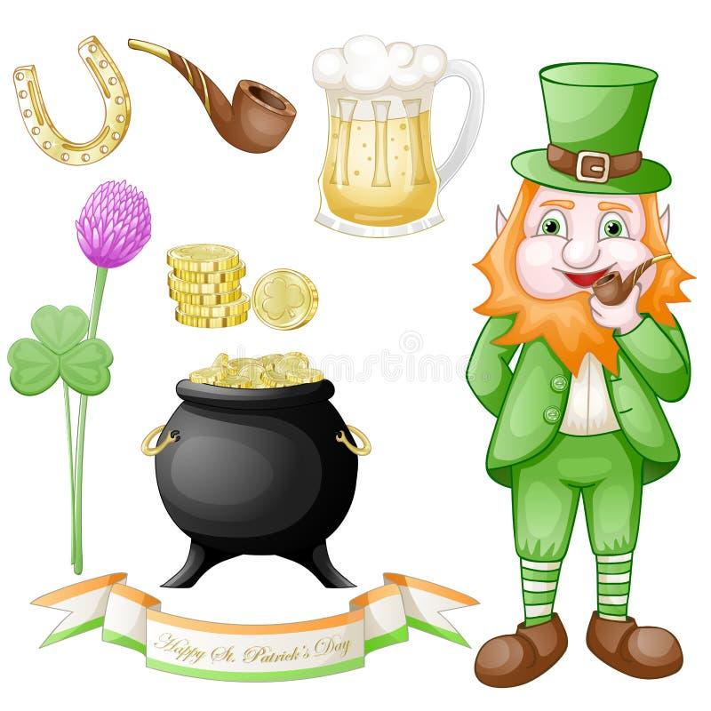 St Patrick ` s geplaatste dagpictogrammen royalty-vrije illustratie