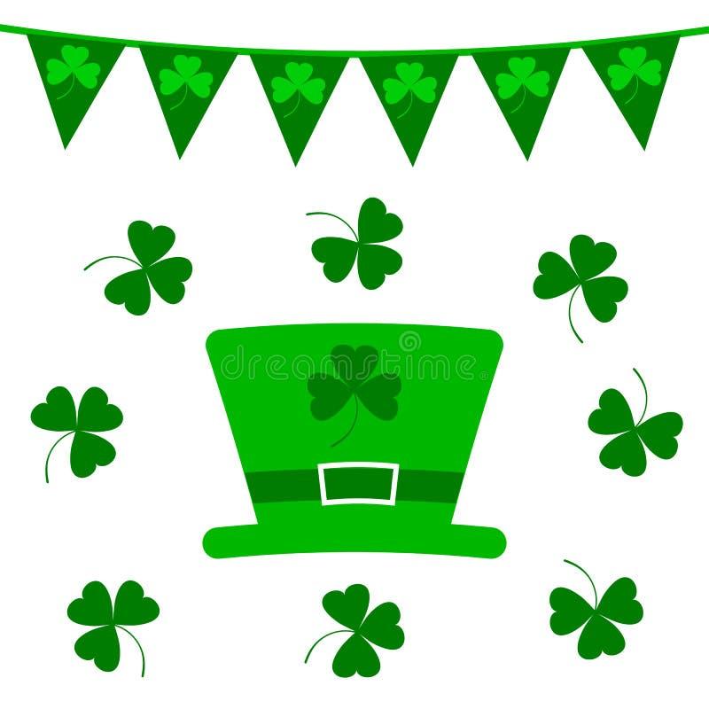 St Patrick ` s geplaatste elementen van het Dag de vectorontwerp Groene hoed met klavers en kleine vlaggen op wit vector illustratie