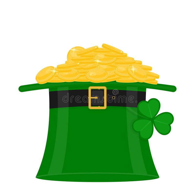 St Patrick`s hat with gold vector illustration