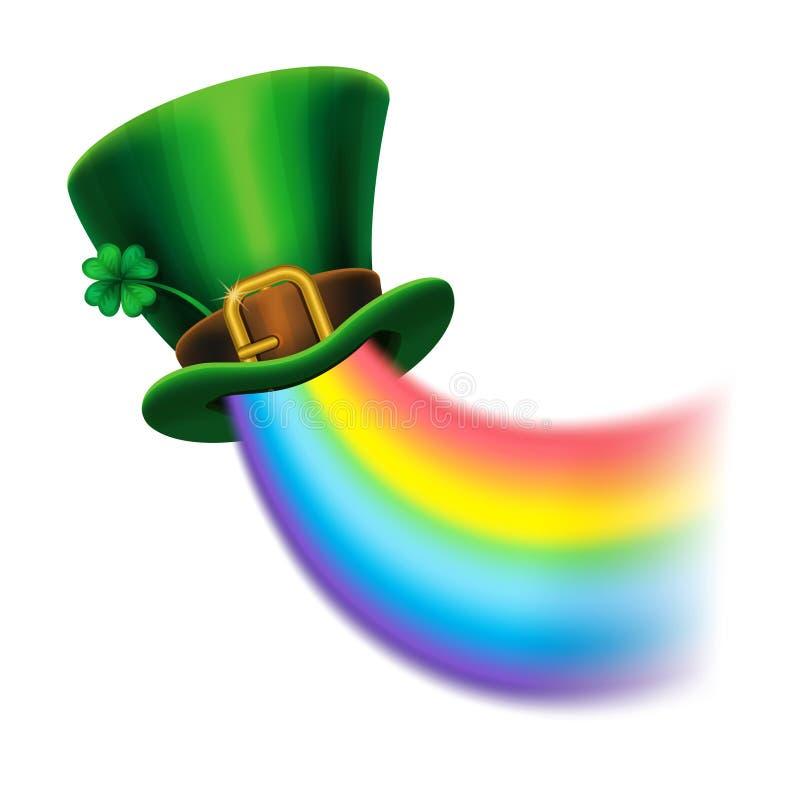 St Patrick ` s hoed van de Dag de groene kabouter met klaver en regenboog stock illustratie