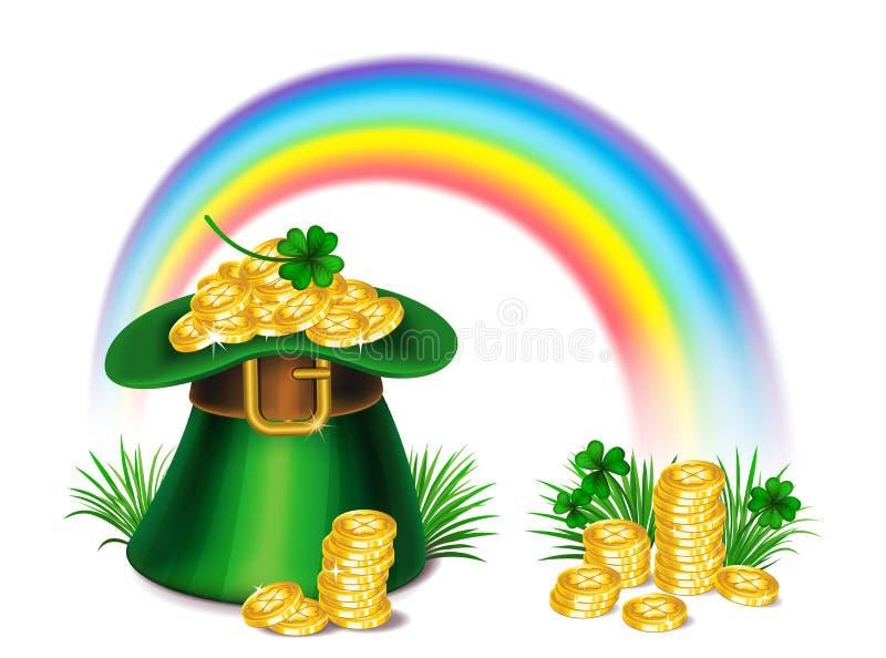 St Patrick ` s hoed van de Dag de groene kabouter met klaver, gouden muntstukken royalty-vrije illustratie