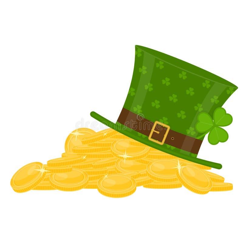 St Patrick ` s kapelusz na złoto stosie ilustracji