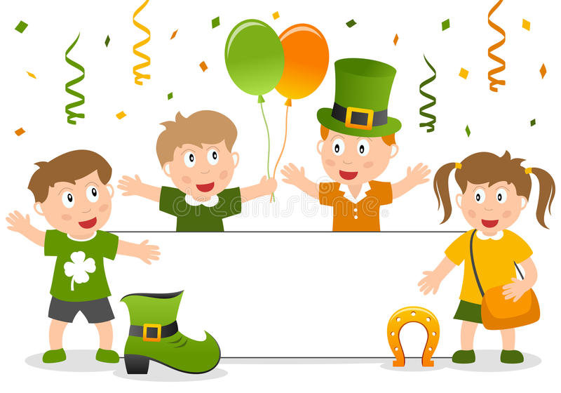 St. Patrick s Kids and Banner royalty free stock images
