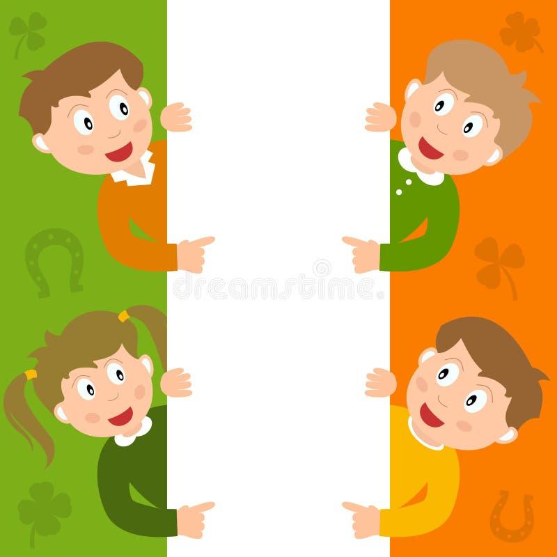 St. Patrick s Kids & Blank Sign royalty free stock photos