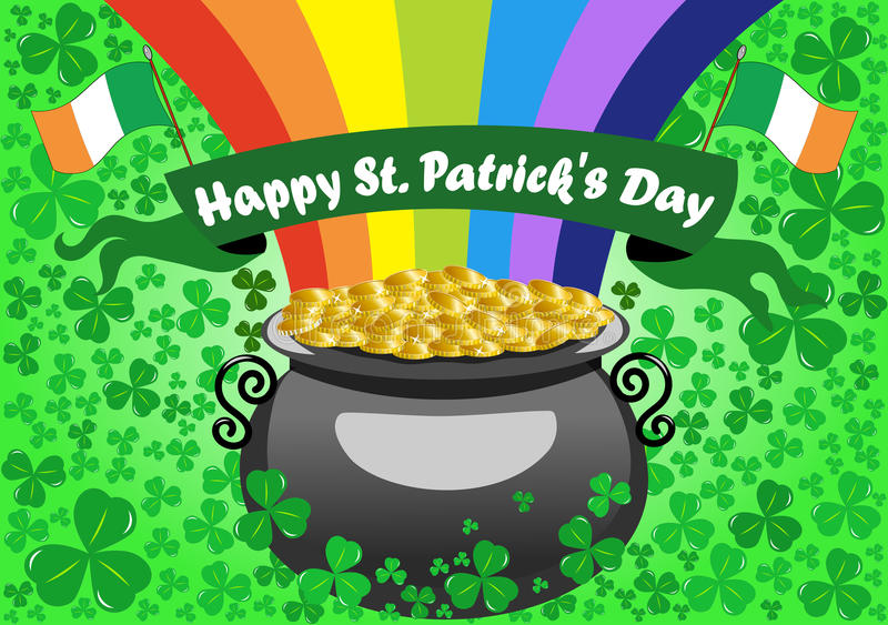 St Patrick s kruka av guldbakgrund stock illustrationer