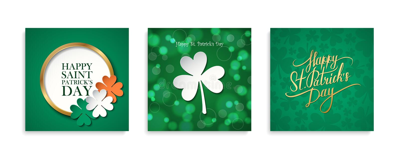St- Patrick` s Tag feiern Kartensatz Irische Nationalfeiertagschablonensammlung lizenzfreie abbildung