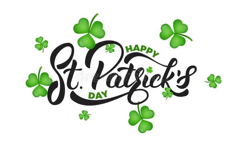 St- Patrick` s Tag Kleeshamrock verlässt Hintergrund- und St- Patrick`s Beschriftung Tageshintergrund Str lizenzfreie abbildung