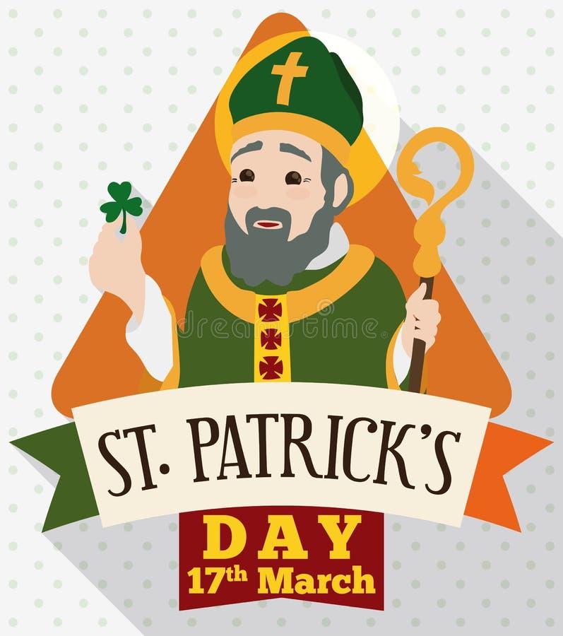 St- Patrick` s Tagesdesign in der flachen Art mit irischem Apostel, Vektor-Illustration stock abbildung