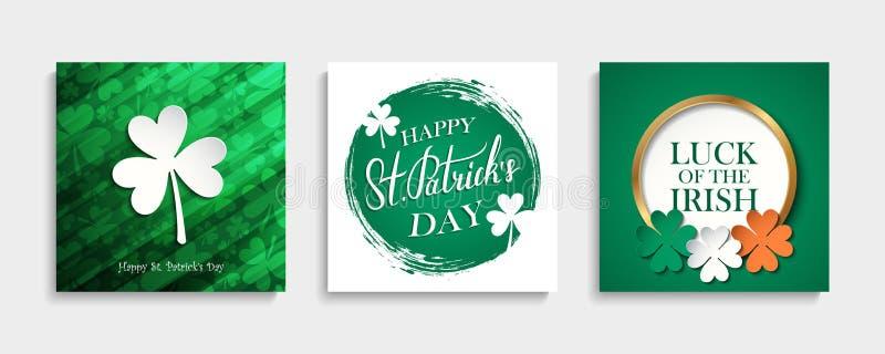 St- Patrick` s Tagesgruß-Kartensatz Irische Nationalfeiertagschablonensammlung lizenzfreie abbildung