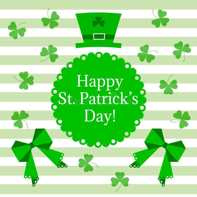 St- Patrick` s Tagesgruß Vector Illustration des Hutes mit Bogen- und Kleeblättern auf den weißen und hellgrünen Streifen vektor abbildung