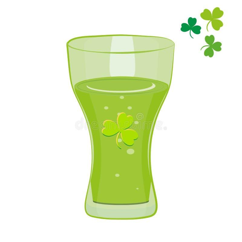 St- Patrick` s Tageshalbes liter grünes Bier Getrennt auf weißem Hintergrund Vektor stock abbildung