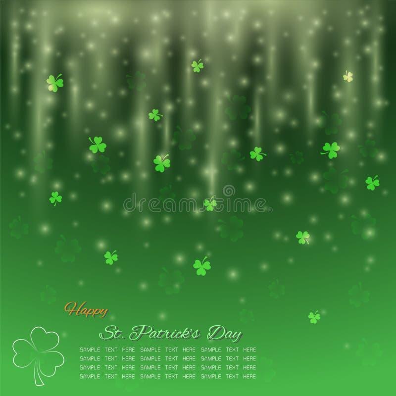 St- Patrick` s Tageshintergrund, grüner Shamrock mit Funkelnlicht stock abbildung