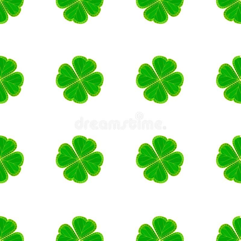 St- Patrick` s Tagesnahtloses Muster mit grünem Mosaikklee verlässt auf weißem Hintergrund vektor abbildung