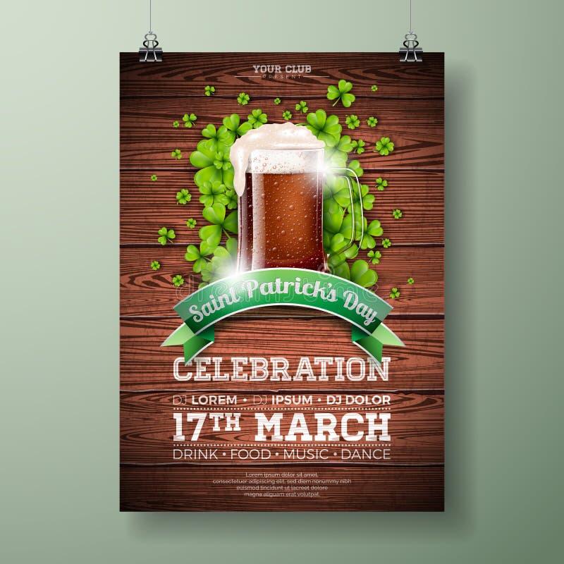 St- Patrick` s Tagespartei-Flieger-Illustration mit frischem dunklem Bier und Klee auf hölzernem Beschaffenheits-Hintergrund Vekt lizenzfreie abbildung