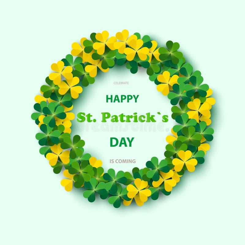 St- Patrick` s Tagesrundes Feld mit Grün vier und Baum-Blatt-Klee lokalisiert auf weißem Hintergrund Auch im corel abgehobenen Be lizenzfreie abbildung