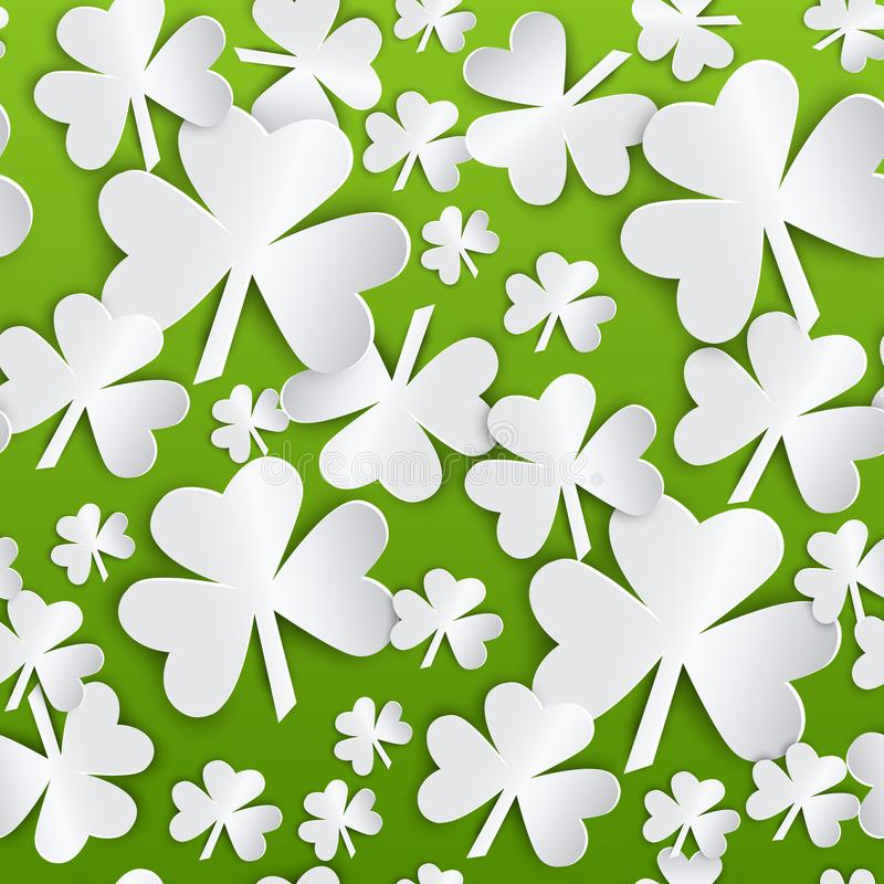 St- Patrick` s Tagesverlässt nahtloser Muster-Hintergrund mit weißem Shamrock auf Grün vektor abbildung