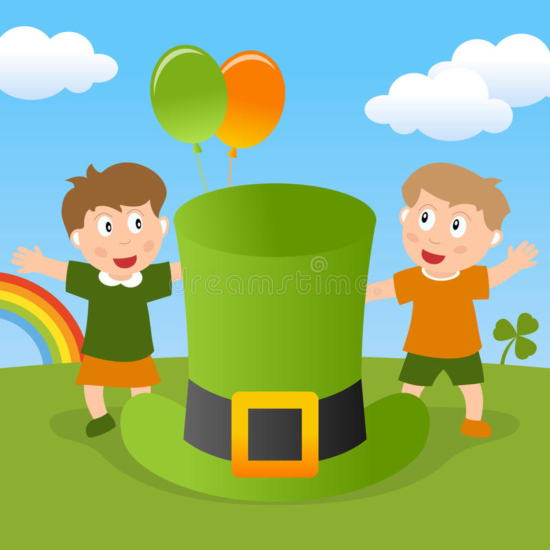 St Patrick s ungar & grön hatt royaltyfri illustrationer