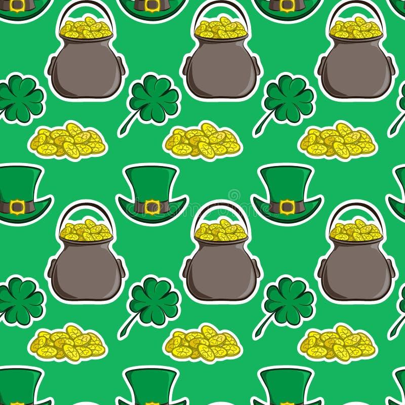 St Patrick s van het vakantie vector naadloze patroon Dag Quatrefoilklaver, kabouterhoed, pot van goud en een handvol muntstukken vector illustratie