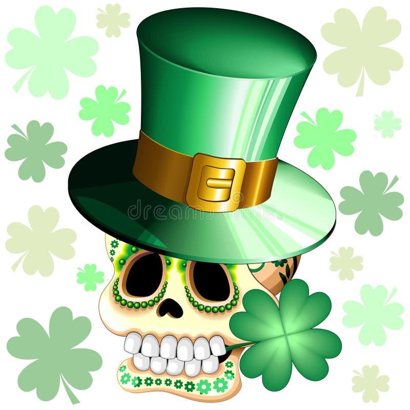 St. Patrick Skull Cartoon mit Lucky Shamrock Vector Illustration stock abbildung