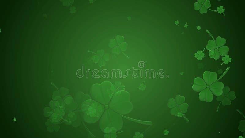 St Patrick Tagesillustration, Kleeblätter, die auf den grünen Hintergrund sich drehen lizenzfreie abbildung