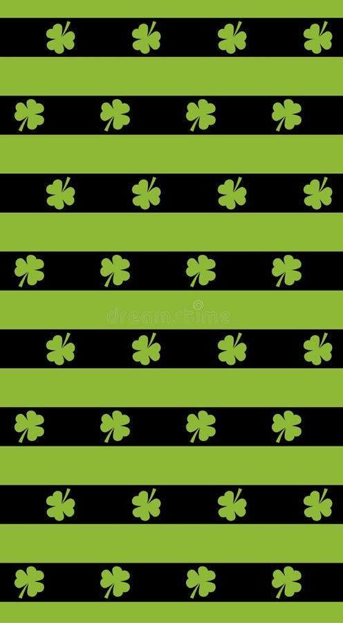 St Patrick Tagesvektorhintergrund Nahtlose Musterstreifen mit grünem Klee St Patrick Tagesvektormuster Das Wachsen verlässt auf d stock abbildung