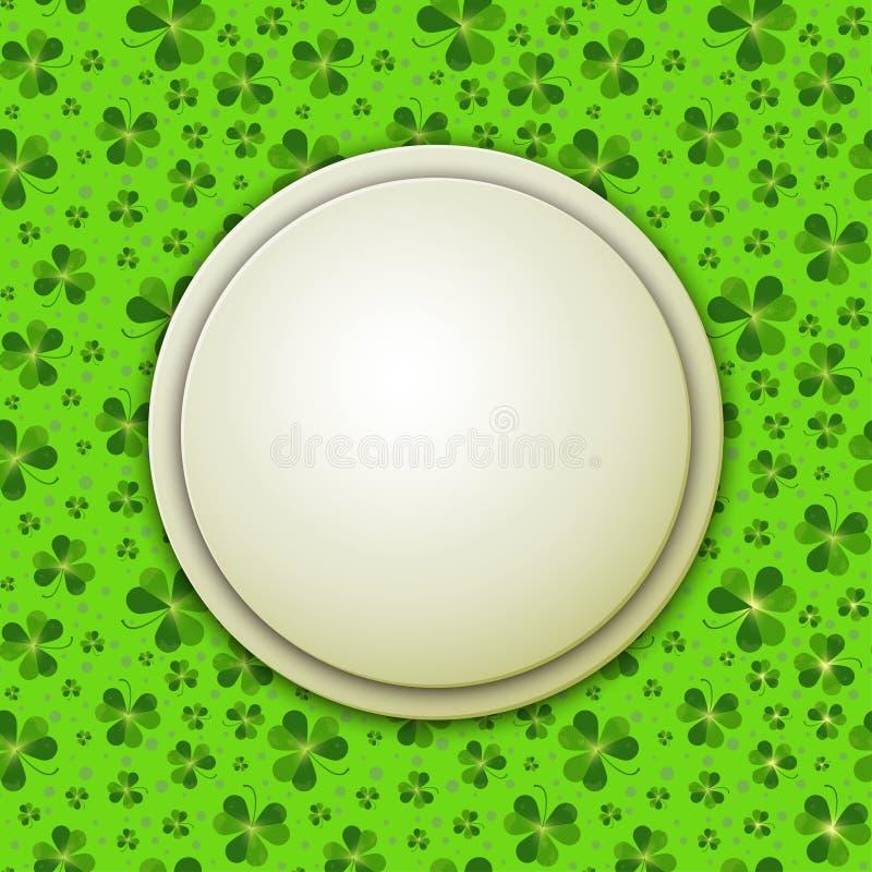 St Patrick Tagesvektorillustration, runde Fahne auf Shamrock verlässt vektor abbildung
