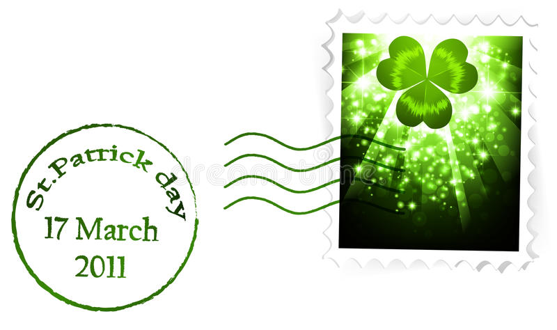St.Patrick vakantie poststapm royalty-vrije illustratie