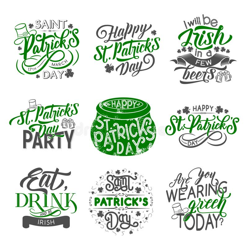 St- Patrickausweis mit irischem Feiertagsgrünklee lizenzfreie abbildung