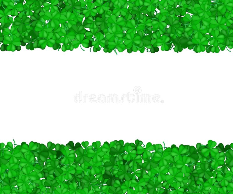 St Patricks天三叶草 在白色背景隔绝的三叶草绿色边界  文本的空间 g 皇族释放例证
