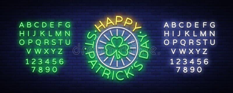 St patricks天传染媒介 霓虹灯广告,商标,邀请标志,贺卡,明信片 设计一块霓虹样式模板为 皇族释放例证