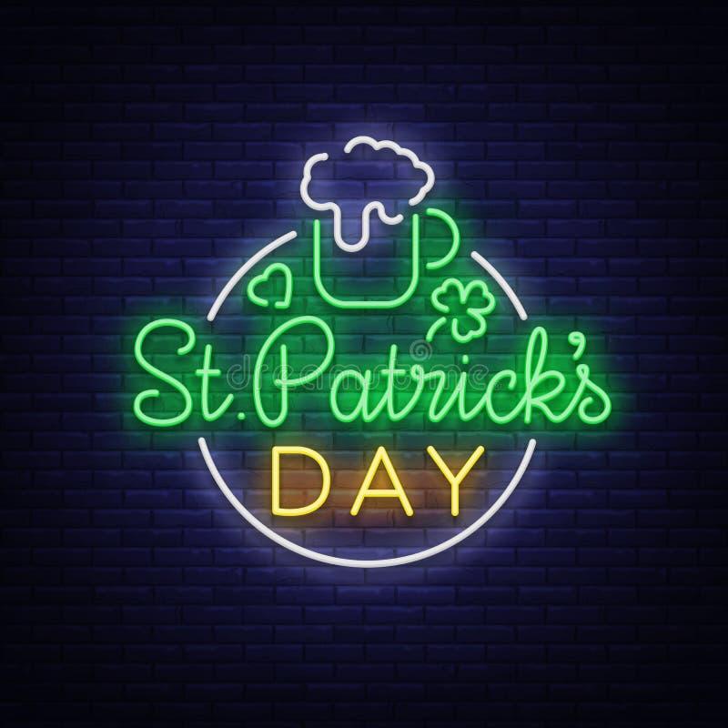 St Patricks天是一个霓虹灯广告 标志,商标用啤酒,霓虹横幅,在霓虹样式,欢乐例证的明亮的设计 皇族释放例证